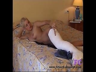 Fetisch Concept.com   Short Hair Blonde With Cast Leg And Dildo