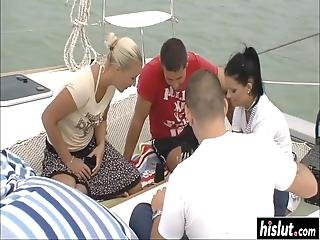 Two Naughty Girls Like To Fuck With Friends Together On The Boat