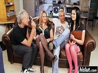 Rebecca Ryder And Another Girl Got Talked Into Fucking On The Couch