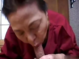 Asian Granny Sucking Cock And Cum