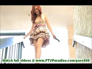 Elle Amazingly Hot Redhead Slut Masturbating With Cucumber S Outdoors