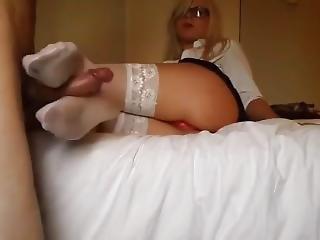 Russian White Stockings Footjob