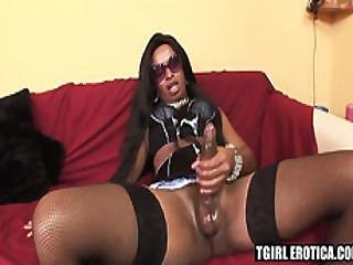 Dude Gets Penetrated Hard By Brunette Ebony Shemale Bruna
