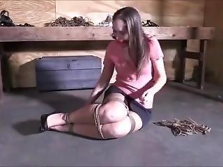 Self Bondage With Rope And Ballgag