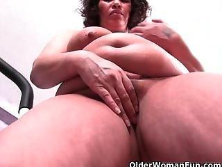 Big Tit, Chubby, Grandma, Mature, Milf, Pussy, Pussy Rub, Workout, Workplace