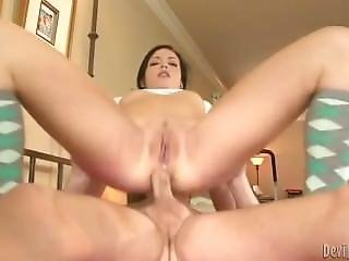 Cock Crazed Teen Gets Her Butthole Fucked In Sideways Position