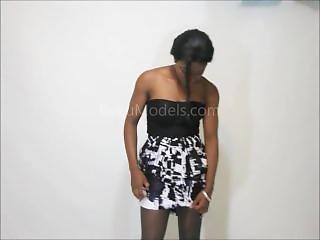 Ebony In Off Black Pantyhose