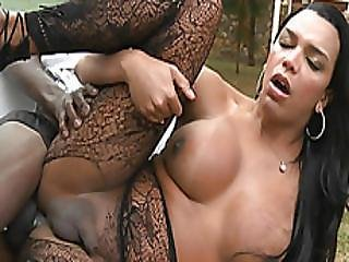 Huge Boobs Shemale Kamily Santos Anal Fucked Outdoors