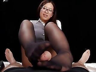 pantyhose footjob Asian