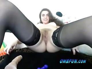 Horny Teen In Hot Stockings Dildo Ombfun Vibrator Fucks Own Hairy Pussy