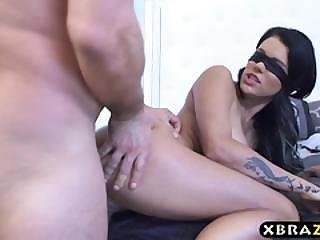 Busty Peta Jensen Blindfolded And Surprised By Her Man