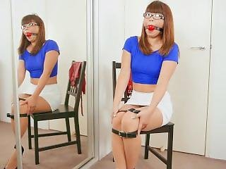 Rstdsns: Nerd Girl Self Bondage On A Chair