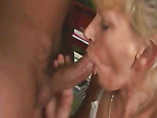 Blonde Granny Deepthroats And Pounds Fat Cock