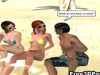 Two 3d Cartoon Hotties Looking For A Man At The Beach