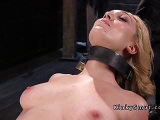 Beautiful Blonde Slave Lily Labeau Bent Over Backward On Her Knees With Collar Got Her Nipples Tormented Then In Other Device Bondage Got Pussy Hard Paddled And Finally Flogged To Red Skin