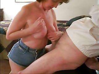 Pipe, Sperme, Sperme Sur Les Seins, éjaculation, Mamie, Mature