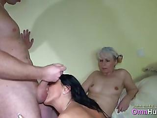 Brunette Mia Uses A Strapon On A Granny