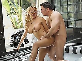 Horny Blonde Loves The Taste Of Jizz