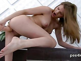 Exquisite Nympho Is Urinating And Masturbating Bald Vagina