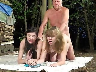 Grandpa And 2 Young Girls Caught And Fucked In Old Young Threesome 2blowjob