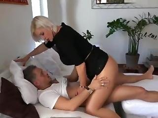 Blonde In Pantyhose Having Fun With A Guy