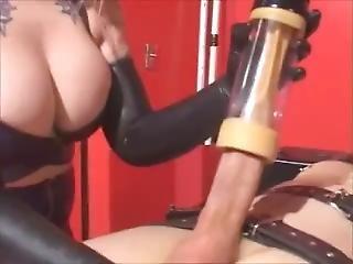 Sexy Blond Mistress Milks Slave