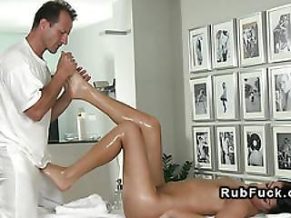 Masseur Gets Footjob Before Sex
