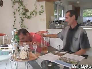 His Blonde Teen Gf Rides Old Man Cock