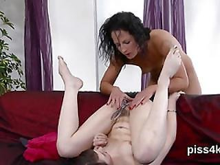 Sweet Teenie Is Geeting Pissed On And Squirts Wet Vagina