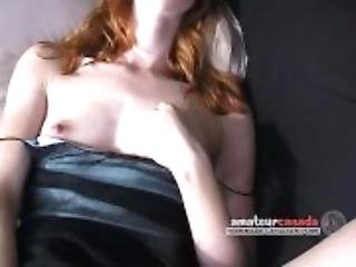 Redhead flashes her tiny tits to finger upskirt panties