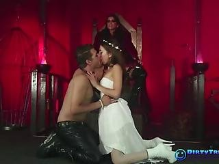fetiche, goth, duro, amante, sexo, esclava, threesome