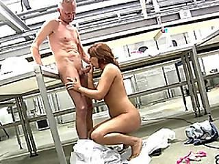 Brunette Teen And Old Guy Please Each Other Orally