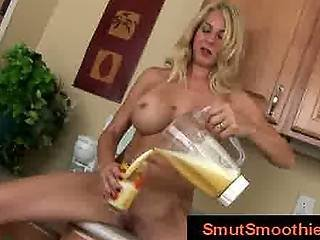 Busty Blonde With Shaved Cunt Prepares Smoothie For Ass