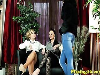 Classy Pissfetish Lesbians Ruin A Fur Coat