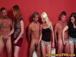 British Cfnm Babe Cum Drenched By Many Cocks