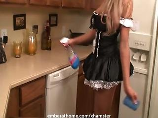Boob, Costume, Fantasy, Kitchen, Maid, Masturbation