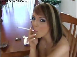 Charlie Alone Smoking Long All White Cigarette Nude