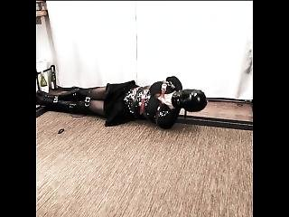 Cd Bondage - Gothic College Student Bound, Harness Gagged, Hooded Strugling