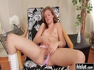 Hot Blonde In Boots Masturbates Passionately