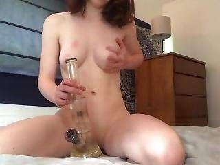 Barely Legal Teen Amateur Hits Bong And Strips To Reveal Shaved Teen Pussy