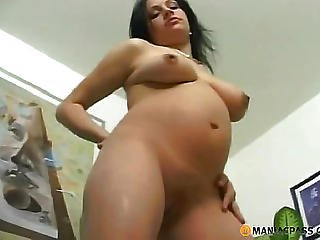 Preggo Gal Wanking Her Body