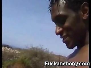 Whooty Slut Sucking Very Big Afro Cock Outdoor