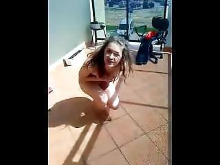 Polish Girl On Balcony