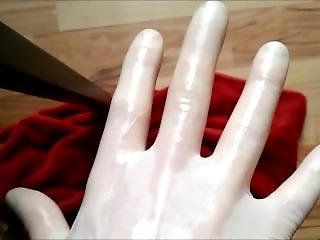 Lubricating Transparent Tight Latex Gloves, Wet-look, Smacking Sounds