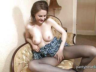 Chick In A Pantyhose Is Masturbating