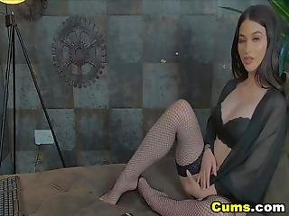 Sexy Babe Is Entertaining Her Viewers Online And Wearing A Black Lingerie And Stockings She Starts To Move So Slow And Sexy While Undressing Herself