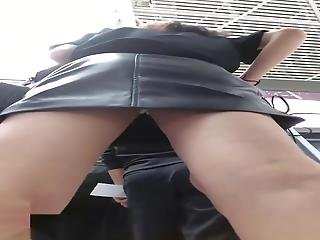 Airport Leather Upskirt