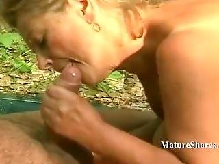 Plumper Milf Sucks Cock Outdoor