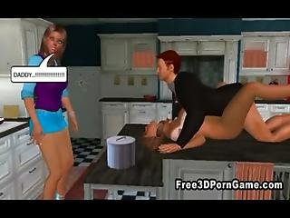 Sexy 3d Cartoon Babes Getting Fucked Around The House
