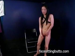 Petite Asian Puts On A Costume And Does It All